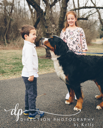 A young boy and his older sister meeting a Bernese Mountain dog named Bueller at the Klehm Arboretum and Botanic Garden in Rockford IL