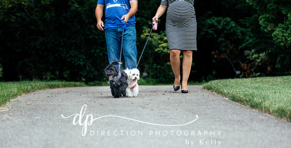 Husband and pregnant wife walking their two dogs at Klehm Arboretum and Botanical Gardens in Rockford IL